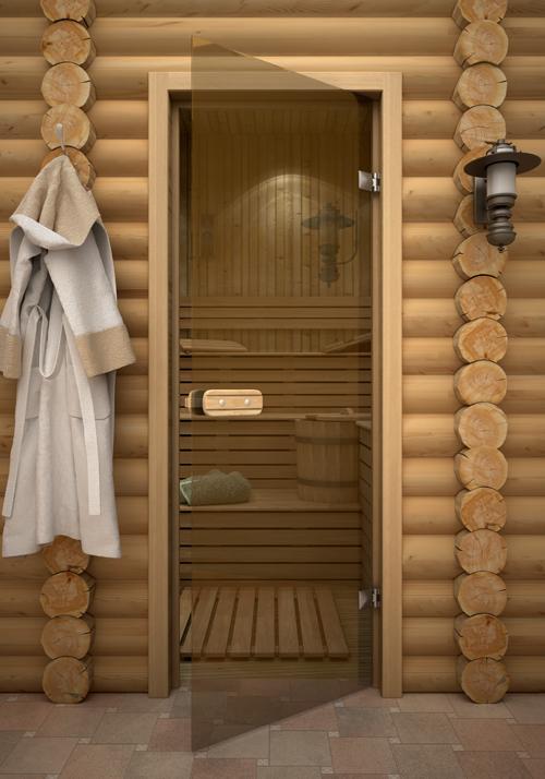 Стеклянная дверь в баню, парилку