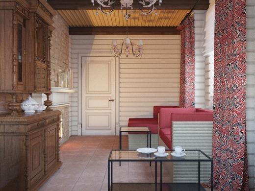 Комната в бане в стиле кантри